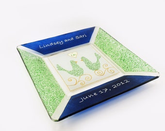 Wedding plate - Hand painted customized and personalized  plate in royal blue and anis green