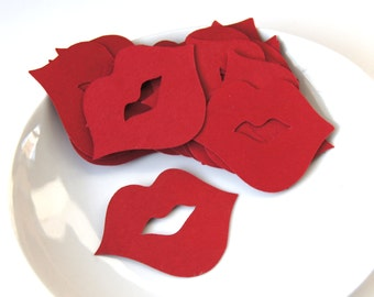 25 Small Lips Die Cuts or Table Confetti in Red . 2 x 1.5