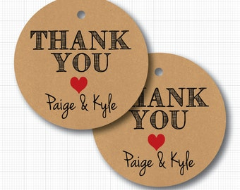 20 Personalized Wedding Thank You Tags (heart) on Kraft for Favors or Packaging (np)
