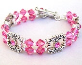 Pink crystal bracelet, Rose Swarovski crystal, double strand sliders, bridal cuff bracelet