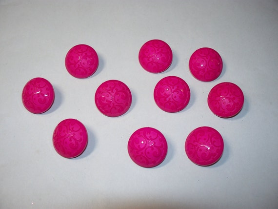 10 Bright Pink, Shank Buttons, Lot  2301
