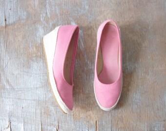 pink espadrilles, vintage 80s pink wedges, pink canvas wedges , size 6 shoes