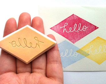 hello rubber stamp. diamond hand carved rubber stamp. calligraphhy hand lettered stamp. scrapbooking. card making. handmade stationery
