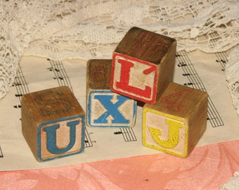 Vintage Wood Baby Alphabet Blocks - Collage, Altered Arts, Mixed Media n More
