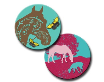Horses with Flair - 1 inch circles - Digital collage sheet - Instant Download
