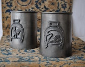 Renaissance Look Tankards/Vintage Italian Pewter/Pair of Stein Mugs/Swan and Rooster