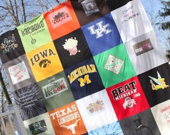 Custom T Shirt Memory Quilt  - 25 Block Design -  Memory Blanket - Girlfriend Blanket