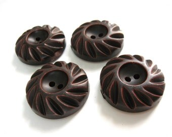 Dark Chocolate Wooden Sewing Buttons 35mm - set of 4 natural wood button (BB138)
