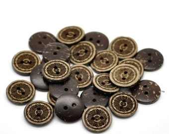 10 Brown Coconut Shell Buttons 15mm -  Flowers (BC621)