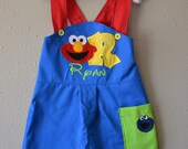 Boys First Birthday outfit Sesame Street shortalls jon jon