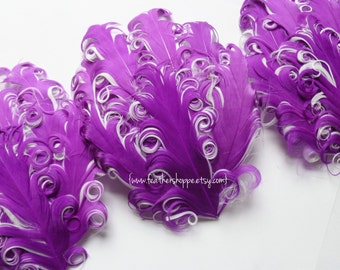 Imperfect Clearance - Purple on White Nagorie Curled Goose Feather Pad -