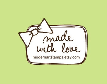 Custom Rubber Stamp   Custom Stamp   Personalized Stamp   Made with Love Stamp   Handmade by Stamp   Bow Stamp   Bow   C548