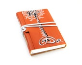 Leather Journal,  Orange Notebook, Diary - Leather Cover, blank white thick paper