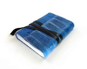 Blue Leather Journal Stitched Leather Cover Diary - The Writer