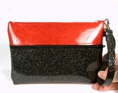 Custom listing for Pibi - Color Block Clutch Purse - Red and Black