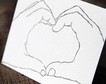 Heart hands- singleletterpress greeting card