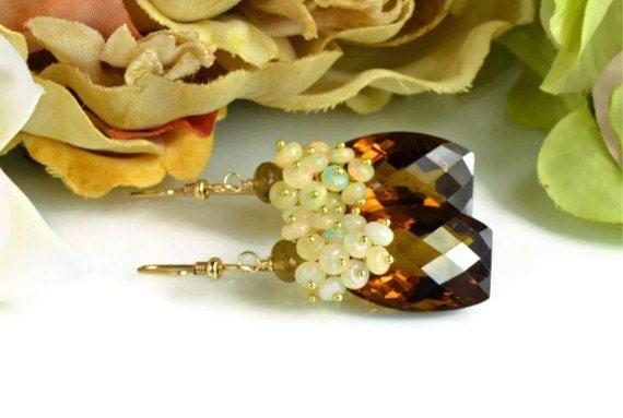 Valentines Sale-Cognac Topaz  Opal Gemstone Dangle Earrings, 14k Gold Filled Wire Wrapped Earrings