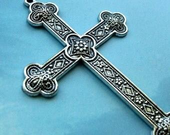 5 huge ornate cross pendants, silver tone, 81mm