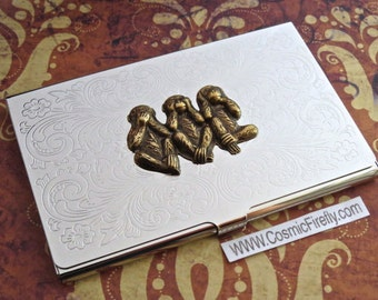 Monkey Business Card Case Brass Monkeys Silver Plated Case Gothic Victorian Card Holder Vintage Inspired Mixed Metals Slim Size
