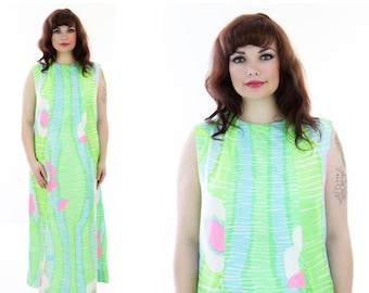 Mod Floral Maxi Dress 60s Bright Psychedelic 1960s Abstract Flowers 1970s L Large XL 1X Plus Size