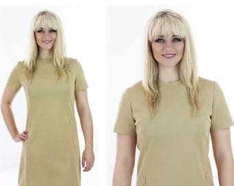 Mad Men Mod Dress 60s 70s Tan A-line Shift Sixties Mock Pockets 1960s Indie Retro 1970s Medium M Large