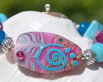 ENDLESS SUMMER- Handmade Lampwork and Sterling Silver Bracelet