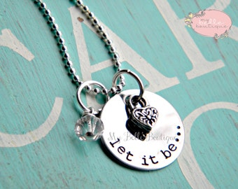 Personalized Hand Stamped Let It Be Necklace with Tiny Heart Charm and Clear Stone