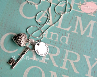 Hand Stamped Key To My Heart Necklace with Oversized Heart Charm and Silver Tone Key