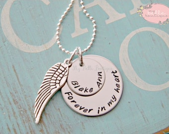Personalized Memorial Necklace with Angel Wing Charm - Forever In My Heart - Hand Stamped