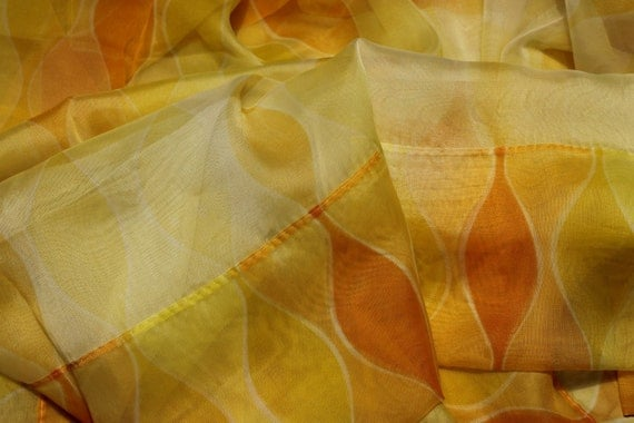 Vintage 1960s Chiffon Orange Amp Yellow Sheer Mid Century Modern