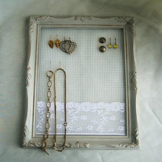 Custom Jewelry Display Frame: Earring Holder Jewelry Display Organizer Shabby By Joyousworld