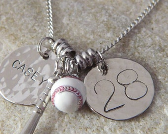 Personalized Name and Numer Baseball and Bat Necklace