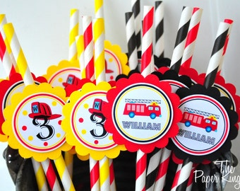 Firetruck  Striped Paper Straws, Firetruck Birthday Party