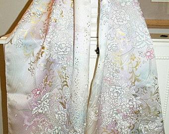Silk Kimono Fabric Scarf/Shawl/Wrap/Shrug..Bouquet Orchids/Roses/Cherry Blossom Sprays..Bridal/Wedding/Bridesmaid Gift..Sash/Clutch/Purse