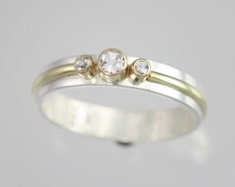 3 Stone Wrap Ring 14K (White Topaz) Size 8