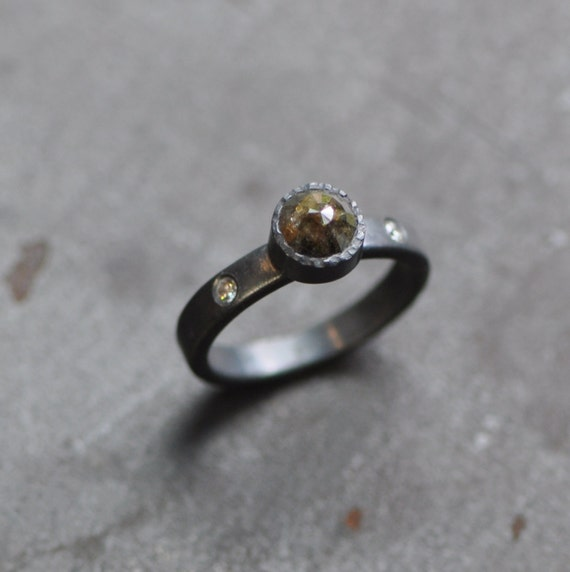 Darkened Sterling silver engagment ring with rose cut diamond  Reserved for Tyler