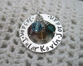 Sterling Silver Birthstone Mommy Necklace with FOUR Crystal Birth Stones and up to Four Names-  Mothers Special GIft