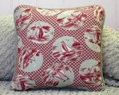 Decorative Pillow, Gone Fishin' vintage textile pillow