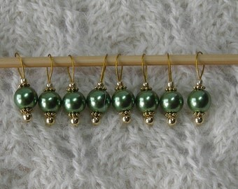 Knitting Stitch Markers - Sweet Pretty Pearls - snag free - moss green round pearl beads - set of 8 - three loop sizes available