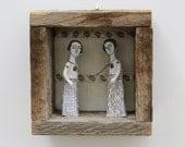 hand embroidery diorama- connection no 2 textile art fiber art