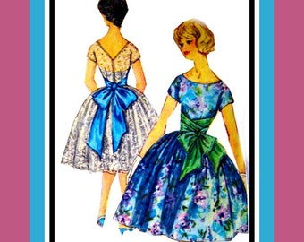 Vintage 1961- Bouffant Party Dress-Sewing Pattern-Mile Long Dramatic Wrap Around Bustle Bow-Plunging V Back- Size 14- Rare