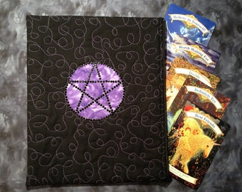 Quilted Zipper Bag - Tarot Rune Crystal Spell Pouch Pagan Purple Pentacle