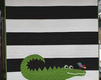 A is for Alligator Quilt Pattern in a PDF for Digital Download
