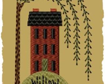 Primitive Machine Embroidery Design-Willow Hill -Version 1--4x4-INSTANT DOWNLOAD