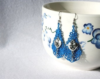 EARRINGS - Chandelier Drop - Monaco Blue - Heart - Love - Swarovski Crystal -  Free Standing Lace Embroidery