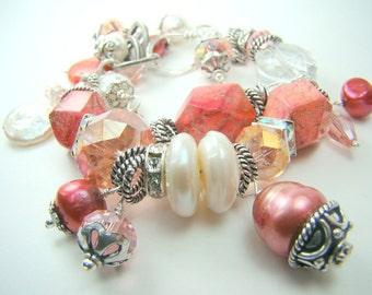 ALL BRACELETS  20% OFF! Chunky salmon charm bracelet, double strand peach pearl gemstone, pastel statement bracelet... Salmon Skies
