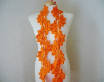 Queen Anne Lace Scarf, in Tangerine Colour