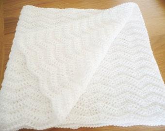 White Baby Blanket in a Chevron Design