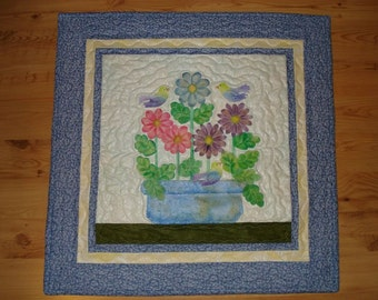 Handmade Crayon Quilt  - SpringTime -   Dyed Fabric - Wall Dec Decor