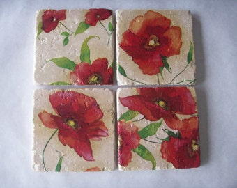 Drink Coasters Poppies